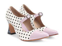 Fluevog Shoes | Shop | Malala (White Pony) | Patent toed mary jane