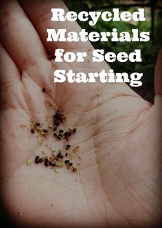 Recycling Materials for Seed Starting. Gardening for stress relief.