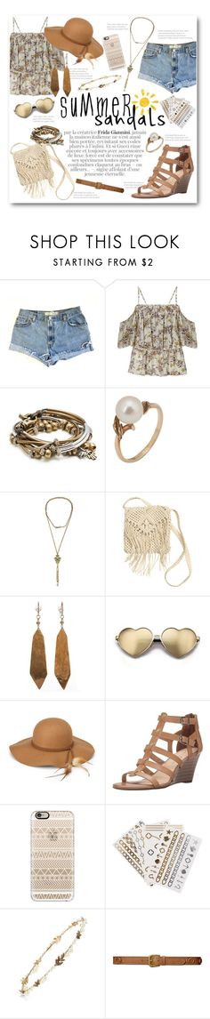 """Summer Sandals"" by lalalaballa22 ❤ liked on Polyvore featuring Levi's, Miss Selfridge, Lizzy James, Mikimoto, H&M, Wildfox, Steve Madden, Casetify, Flash Tattoos and Cara"