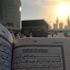 Indescribable feeling- Reciting Surah Kahf in front of the Ka'bah before Maghreb with the sun just about to set. Surah Kahf, Quran Surah, Al Quran Al Karim, Mekkah, Madina, Allah, We Heart It, Prayers, Feelings