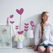 Wandaufkleber: Wandtattoo für Kinder: Vögel & Herzblumen