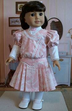 Samantha Parkington half ponytail white tights white ponytail pleated dress with cluny lace pink Spring 1900s