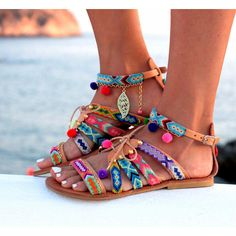 Sandals Gladiator Leather Sandals Friendship Bracelets Pom Pom Sandals... (360…