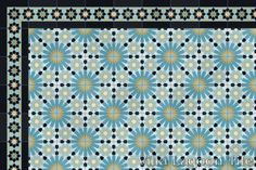 Casablanca cement tile as a border for Tangiers cement tile, in a 9x6 layout.