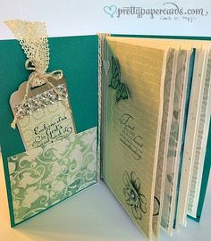 """2014 PART 1 -  find tutorials on envelope books on Pinterest and YouTube used Sticky Strip to adhere the envelopes together and to adhere the cover.  I decorated the front and back of each envelope and tried to use the color """"teal"""" which is the bride's color"""
