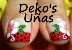Resultado de imagen para deko's uñas Pedicure Nail Art, Pedicure Designs, Toe Nail Designs, Manicure, Nail Polish Art, Toe Nail Art, Nail Art Diy, Feet Nail Design, Cute Toe Nails