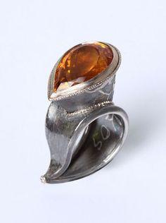 Ring | Christian Streit. Silver, white gold, citrine, diamond