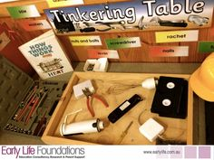 Tinkering Table - Walker Learning *** If I wanted to make it something that I can put away after discovery- could make it 'tinkering box' Learning Spaces, Learning Environments, Learning Centers, Eyfs Classroom, Classroom Setup, Outdoor Classroom, Inquiry Based Learning, Early Learning, Life Learning
