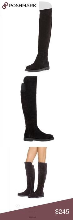 """Vince Coleton black suede boot - size 7 1/2 Vince Coleton suede boot - size 7 1/2 Suede over-the-knee Vince boots have a cushioned crepe sole and brushed texture.  Inset elastic panel Exposed zip closes the side.  Leather: cowhide Made in Italy Shaft: 19.75"""" Circumference: 14.25"""" (measurements from website) I wore these twice and sadly had to take steroids that caused my feet to swell and they no longer fit. That is my only reason for selling. These are amazing!!  Aside from a few light…"""