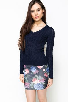 V-Neck Cable Knit Pullover