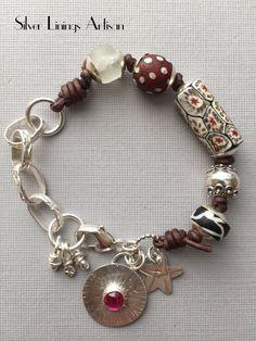 Antique African Trade Bead Bracelet by SilverLiningsArtisan