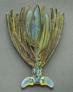 René Lalique. Brooch. Pine Sprig 1900-02, gold/enamel/cast glass. 2-3/4 x 2 inches. Jean Jean Vintage