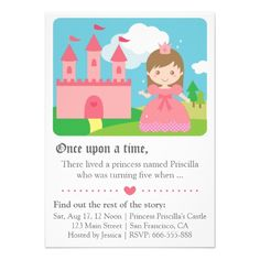 Cute Fairytale Princess Theme, Girl Birthday Party Personalized Invites