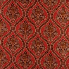 Red, Brown, Gold And Ivory Traditional Brocade Upholstery Fabric By The Yard