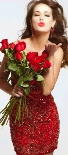Lady in Red. Romantic Roses, Beautiful Roses, Shades Of Red, Red Fashion, Happy Valentines Day, Lady In Red, Color Splash, Red Roses, Sexy Women