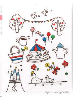 Kawaii Embroidery Patterns & Designs by JapanLovelyCrafts on Etsy