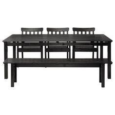 ÄNGSÖ Table with bench and 3 chairs - black-brown - IKEA - alternate with matching white table/chairs and black and white linens and lamps