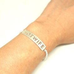 Silver Hotwife Bar Bracelet Bangle  Hotwife Jewelry Bdsm