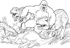 King Kong Fighting With Dinosaurs Coloring Page