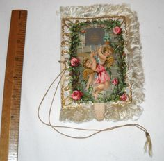 Antique Victorian Dance Card 1883 Mechanical Pull Tab Front, Fringed LOVELY