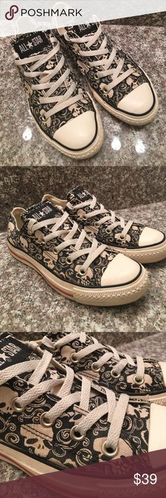 Converse AS Low Top Shoes W 6 SKULL Graphic 1U814 This is a pair of Rare Converse ALL STAR Low Top Sneaker Shoes in a sz Men 4 / womens 6 SKULL Graphic 1U814 Blk/Wht Textile! Originally from Journeys, Gently used condition! I ship fast! Happy poshing friends! Converse Shoes Sneakers