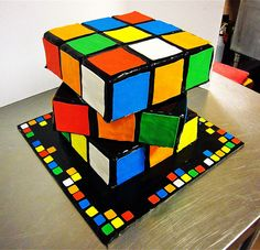 25 Nerdy Cakes To Have A Blast On Your Geeky Birthday – ZoomZee Rubik's Cube Birthday Cake Neon Birthday Cakes, 10th Birthday, Birthday Blast, Birthday Ideas, Cubes, Neon Cakes, Puzzle Party, Ganache, Rubik's Cube