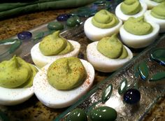 Deviled Avocado Eggs...   Ingredients:   Mix 1 large avocado with 3 egg yolks,  add 1 tsp. cilantro and 3 tsp lime juice,  1 tbsp red onion.  Pinch of salt and pepper.  Top with a dash of chili pepper or paprika.