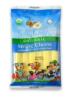 Made from part skimmed milk, Organic Creamery® Silly Cheese® string cheese is a healthy, between-meal snack and a great addition to a lunch box. With Organic Creamery® Silly Cheese®, you can rest assured your kids are eating a cheese made with 100% organic milk that is free of pesticides, antibiotics and hormones. A cousin to Mozzarella with a creamy white, smooth texture and mild flavor that kids find appealing, Organic Creamery® Silly Cheese® is made in a fun shape with strands that kids…
