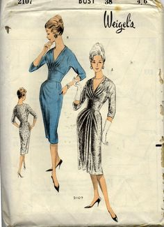 1950s Wiggle Sheath Dress Pattern Weigels 2107 Rare Vintage Sewing Pattern Bust 38 inches UNUSED Factory Folded