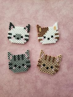 Cat Beads Bead Head by PerlerCreationsShop on Etsy – Bügelperlen – Hama Beads Perler Bead Designs, Hama Beads Design, Pearler Bead Patterns, Diy Perler Beads, Perler Bead Art, Perler Patterns, Pearler Beads, Fuse Beads, Loom Patterns
