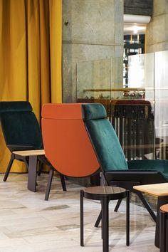 Positano Yes Restaurant, NK, Stockholm by Monica Förster Design Studio Positano Restaurant, Nordic Design, Restaurant Design, Warm Colors, Stockholm, Dining Chairs, Studio, Furniture, Home Decor