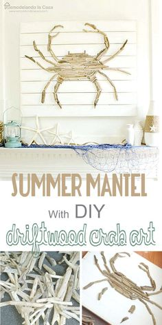 Summer Mantel with Driftwood Crab Art-Summer Mantel with Driftwood Crab Art Coastal Decor- DIY crab from driftwood - Beach Cottage Style, Coastal Cottage, Coastal Homes, Beach House Decor, Coastal Style, Coastal Decor, Home Decor, Coastal Farmhouse, Diy Beachy Decor