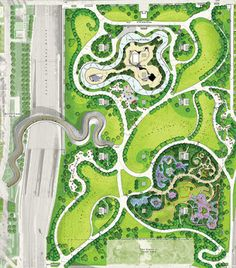 Strongest at the Corners: At Maggie Daley, Michael Van Valkenburgh rethinks the Chicago Lakefront Park - Part One Landscape Architecture Drawing, Landscape Design Plans, Landscape Concept, Landscape Drawings, Architecture Plan, Park Landscape, Urban Landscape, Parque Linear, Urban Design Plan