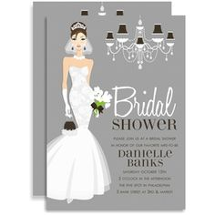 This stylish design is created with a sophisticated bride-to-be in a gorgeous white gown, holding a bouquet of white tulips.  There is a decorative chandelier to the right side and the background is a rich grey checkered pattern. Perfect for the cosmopolitan bride!  White envelopes are included.