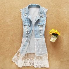 Lace stitching denim vest jacket JEc :)