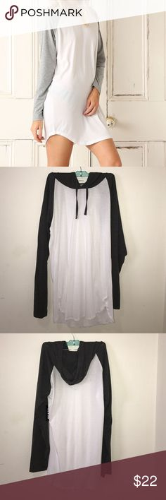 BNWT BASEBALL TEE SHIRT/DRESS white and dark grey, with hood. size large fits long. great for med/small who like the long shirt look. length is 33' from top to bottom. Dresses