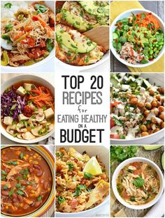 A convenient compilation of the top 20 recipes for eating healthy on a budget from Budgetbytes.com. Meat and Vegetarian recipes included!