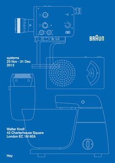 Systems is an exhibition of commissioned poster designs and '60s Braun products, presented in a single grid at the Walter Knoll London showroom from 25 Nov – 31 Dec 2013. The exhibition is curated by das programm and produced in association with Braun.
