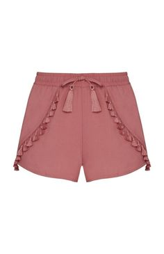 Blush Tassel Shorts These adorable and stylish shorts are adorned with tassel embellishments and are perfect for Spring and Summer Atmosphere Shorts Casual Wear, Casual Outfits, Cute Outfits, Fashion Pants, Fashion Outfits, Womens Fashion, Chor, Pants Pattern, Kid Outfits