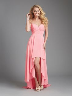Can't decide between a short or long bridesmaid dress? Go for an assymetrical hem with this bridesmaid dress from Allure Bridesmaids. This color is perfect for a Spring or Summer wedding.