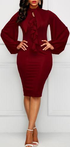 Red wine keyhole bell-sleeve bodycon dress w/ peplum sternum