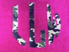 Circle Monogram Camo Personalized Beach Towel.  Hot Pink Camouflage Circle Monogram.