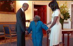 Con 106 años, cumplió el sueño de bailar con un Presidente negro