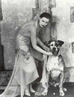 Greta Garbo with dog in Flesh and the Devil-1926