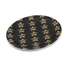 Elegant Black Gold Look Christmas Stars Pattern Paper Plate - decor gifts diy home & living cyo giftidea