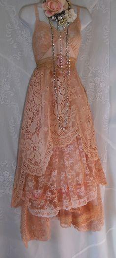 vintage pink coral lace slip dress