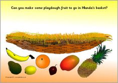 A set of simple printable mats where children make items linked to the story of Handa's Surprise. Eyfs Activities, Playdough Activities, Activities For Kids, Handas Surprise, Surprise Ideas, Africa Day, Eyfs Classroom, Traditional Tales, English Book