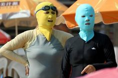 Say what?! Face masks are all the rage on China's beaches