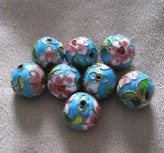 Blue Floral Cloisonne Beads 8 pcs by TheGingerPup on Etsy