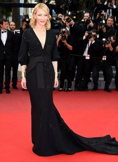 Best Dressed Day 7: Classic and chic with oriental touch. Cate Blanchett in Armani Privéat bamboo leaves embellished long train black dress with obi belt detail at 'Sicario' Premiere during Cannes Film Festival 2015.